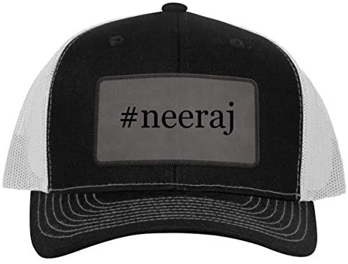 One Legging it Around #Neeraj - Leather Hashtag Grey Patch Engraved Trucker Hat