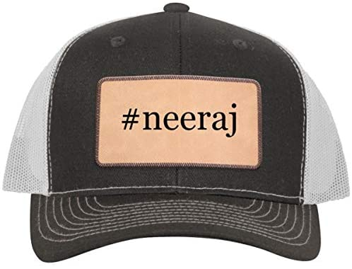 One Legging it Around #Neeraj - Leather Hashtag Light Brown Patch Engraved Trucker Hat