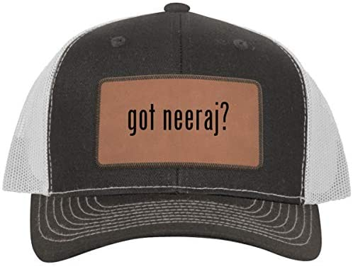 One Legging it Around got Neeraj? - Leather Dark Brown Patch Engraved Trucker Hat
