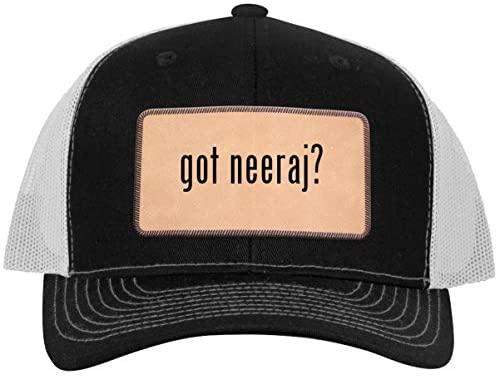 One Legging it Around got Neeraj? - Leather Light Brown Patch Engraved Trucker Hat